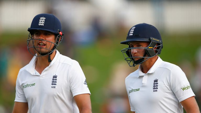 Alastair Cook (L) and Joe Root (R) walked off unbeaten for England at the close of play