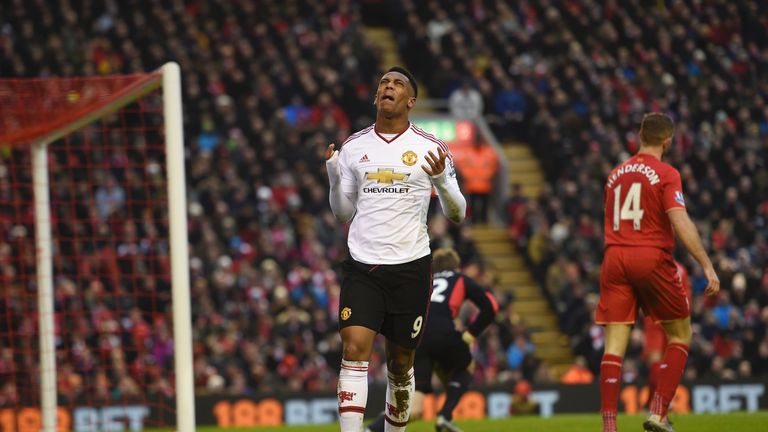 Anthony Martial missed a good chance in the win over Liverpool