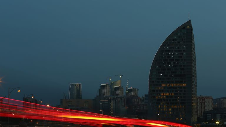 The Trump Tower at dusk in Baku