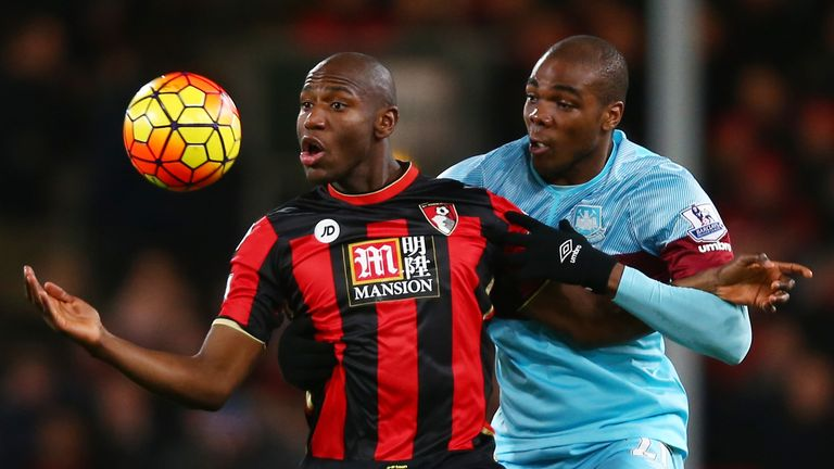 Bournemouth striker Benik Afobe in action against West Ham