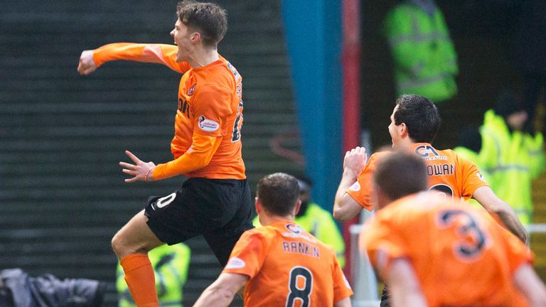 Blair Spittal celebrates his opening goal for United