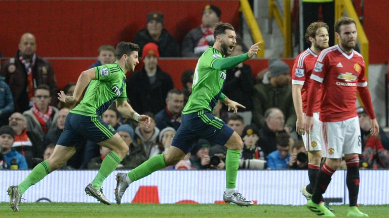 Charlie Austin (centre) celebrates scoring Southampton's match-winning goal at Old Trafford last month