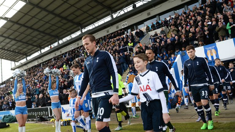 Captain Harry Kane leads Tottenham out ahead of the FA Cup fourth round clash with Colchester