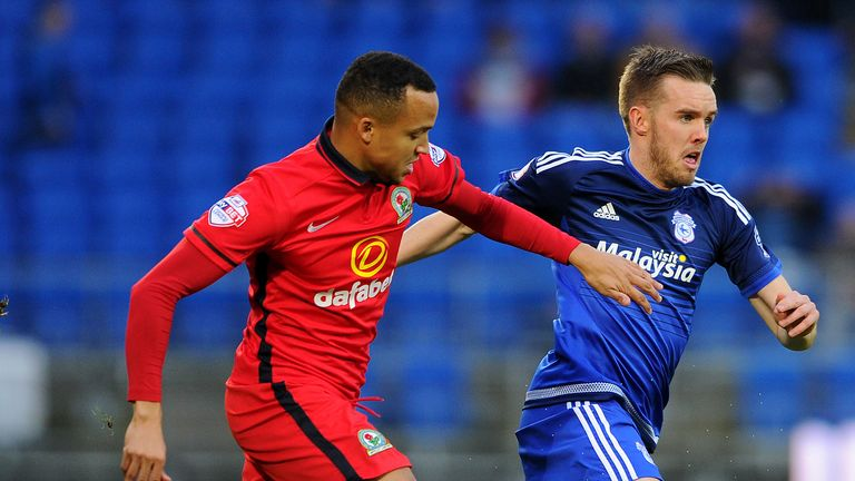 Craig Noone (blue) netted twice for Cardiff