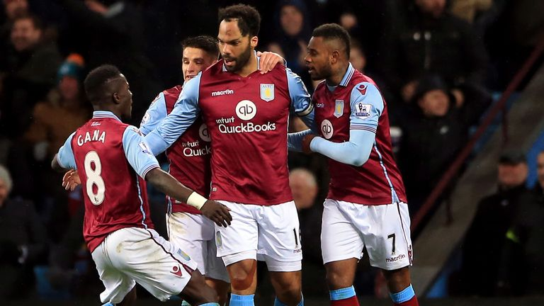 Aston Villa's Joleon Lescott is congratulated after scoring against Crystal Palace