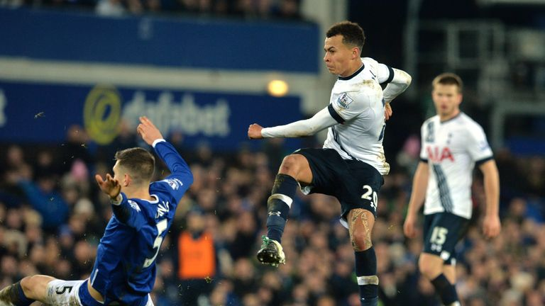 Dele Alli (middle) equalised for Tottenham on the stroke of half-time