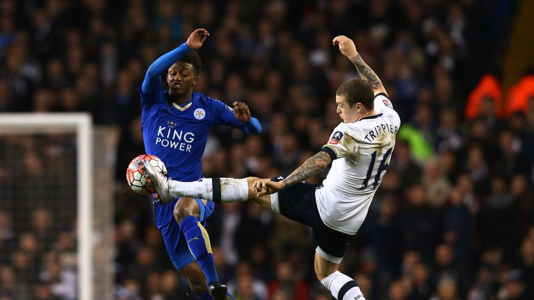 Demarai Gray and Kieran Trippier do battle at White Hart Lane