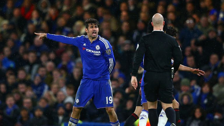 Chelsea forward Diego Costa argues with referee Anthony Taylor during the 2-2 draw with West Bromwich Albion