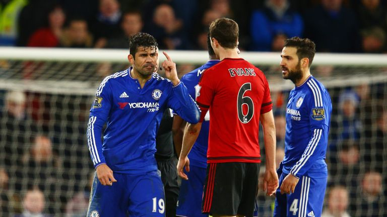 Diego Costa confronts Jonny Evans during Chelsea's 2-2 draw with West Brom