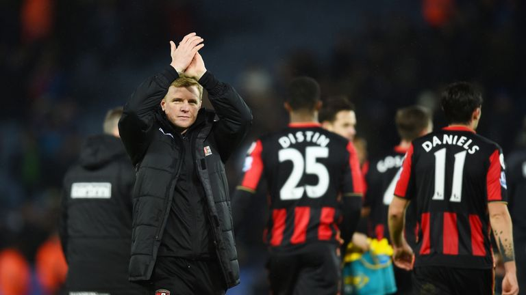 Eddie Howe applauds Bournemouth's supporters after the 0-0 draw against Leicester City