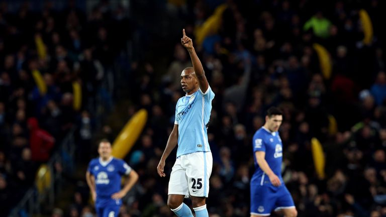 Manchester City's Fernandinho celebrates scoring his side's first goal of the game