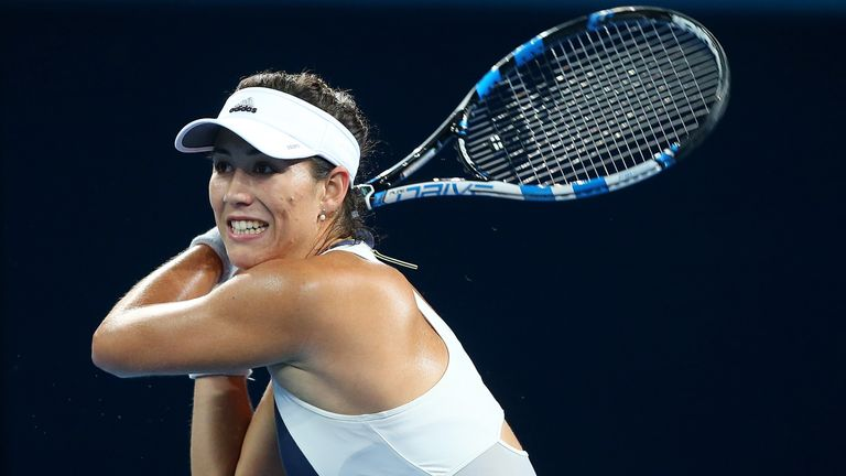 Garbine Muguruza was behind to Varvara Lepchenko when blistered feet forced her to retire