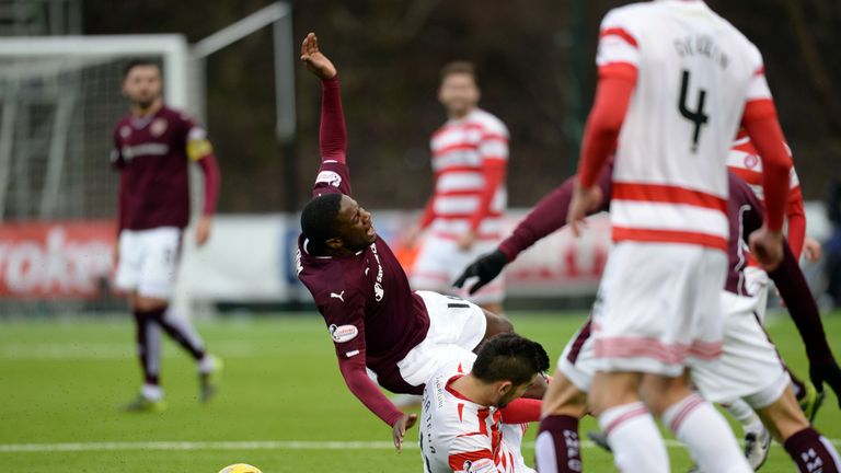 Hamilton's Jesus Garcia Tena was sent off for this challenge on Arnaud Djoum