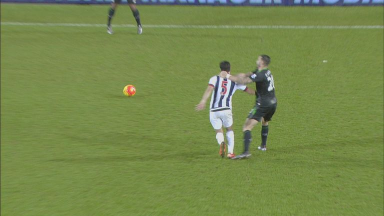 Geoff Cameron (Stoke) is sent off for violent conduct on Claudio Yacob (West Brom)