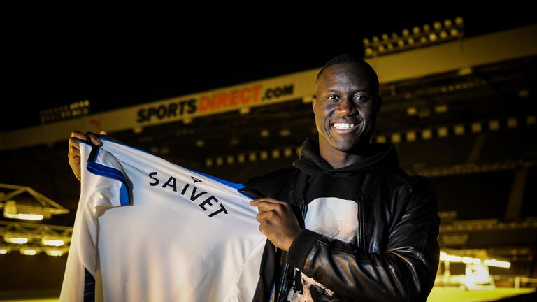 Henri Saivet poses for photographs pitchside at St James' Park after signing on Monday