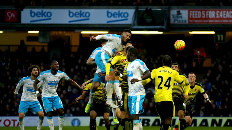 Newcastle's Jamaal Lascelles scores in the 71st minute to reduce the deficit to 2-1 against Watford