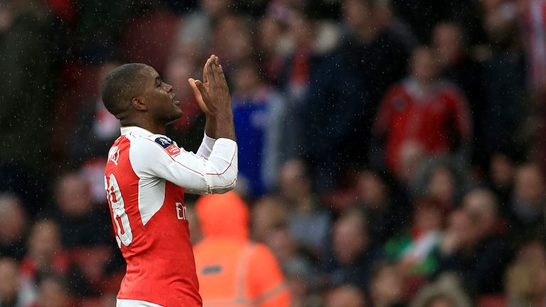 Joel Campbell celebrates Arsenal's equaliser against Sunderland