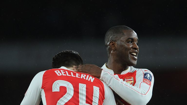 Joel Campbell celebrates with team-mate Hector Bellerin after scoring against Sunderland