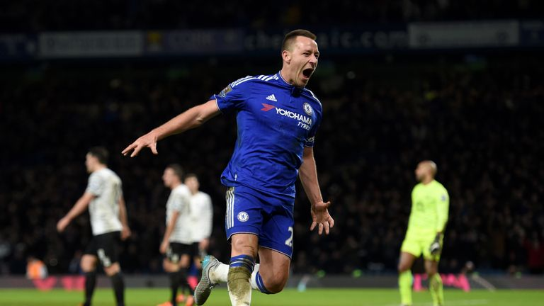 Chelsea's John Terry celebrates scoring his side's third goal against Everton in January