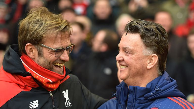 Former Bundesliga rivals Jurgen Klopp and Louis van Gaal share a joke before kick-off