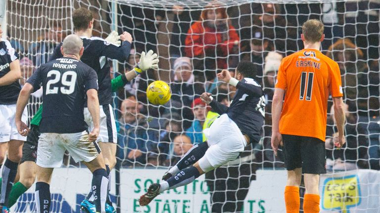 Kane Hemmings scores Dundee's first goal against Dundee United