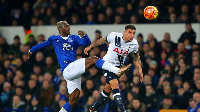 Kyle Walker (right) heads the ball under pressure from Arouna Kone