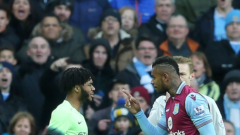 City's other goalscorer Raheem Sterling exchanges words with Leandro Bacuna