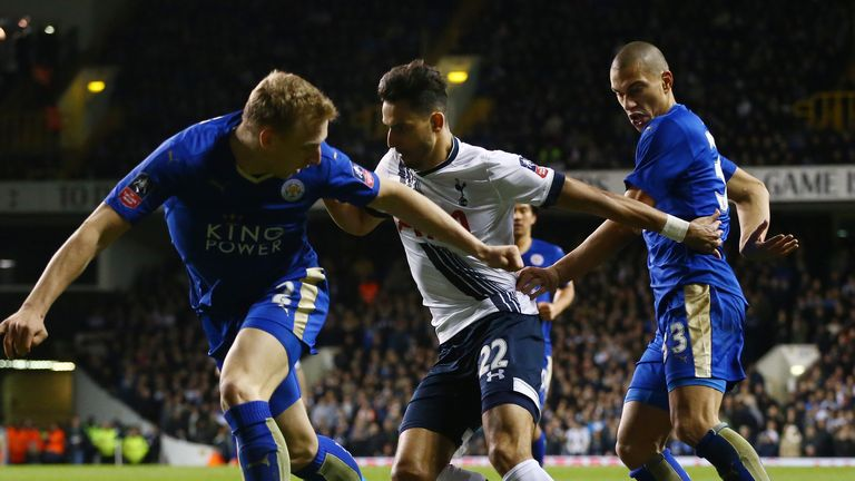 Nacer Chadli looks for a way through Leicester's stubborn defence