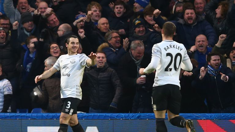 Everton duo Leighton Baines and Ross Barkley celebrate the opening goal