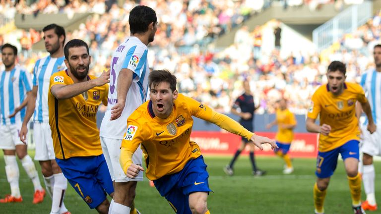 Messi (middle) produced a moment of brilliance to earn Barcelona three points
