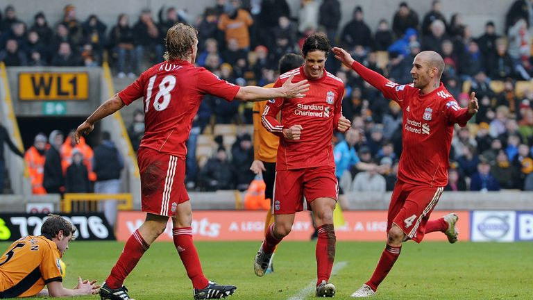 Fernando Torres scored his final Liverpool goals in a win against Wolves