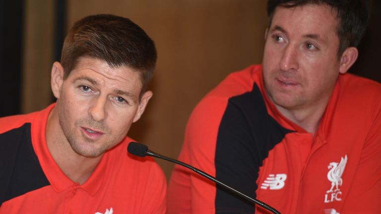 Liverpool Legends Steven Gerrard and Robbie Fowler ahead of the game with Real Madrid