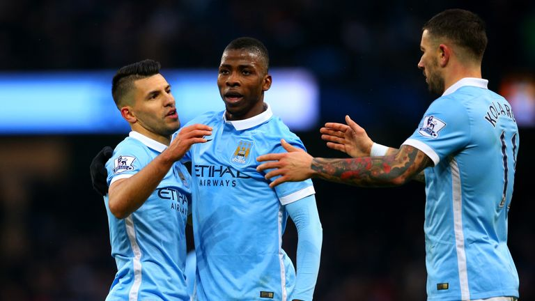 Sergio Aguero of Manchester City celebrates with his team-mates