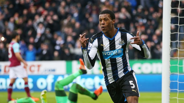 Georginio Wijnaldum celebrates scoring Newcastle's second goal