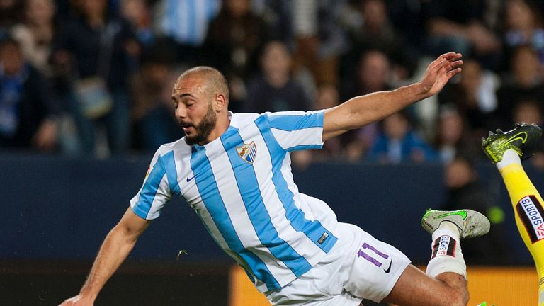Nordin Amrabat in action for Malaga in La Liga