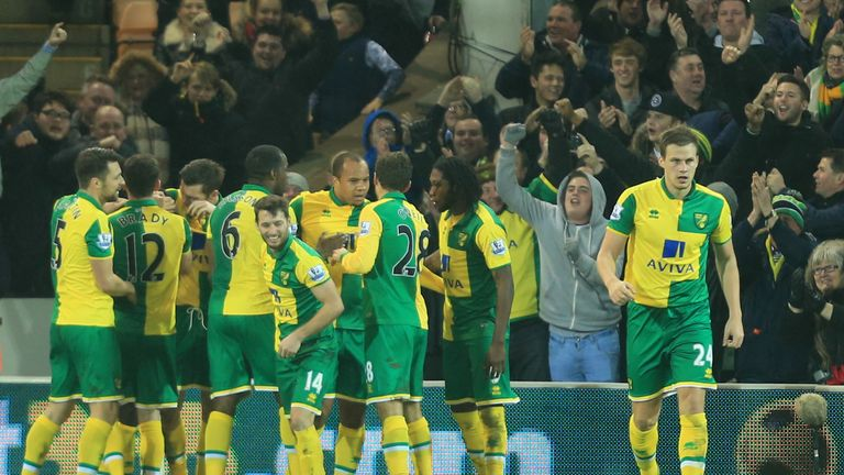 Norwich celebrate Tettey's winning goal at Carrow Road