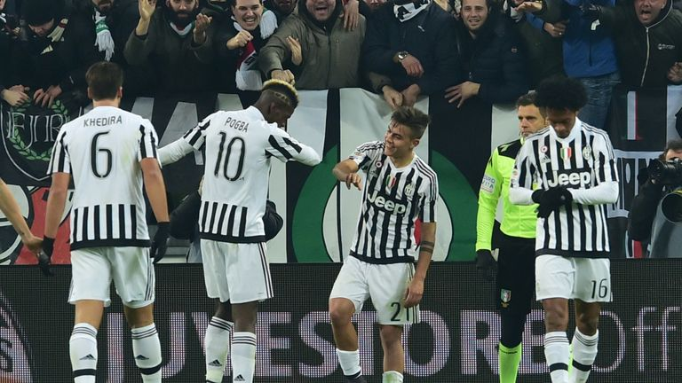 Juventus Forward From Argentina Paulo Dybala Centre Celebrates With Teammate Midfielder