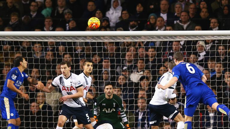 Robert Huth (R) heading Leicester's winner at Tottenham on Wednesday