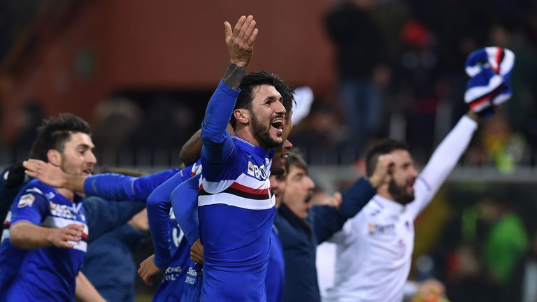 Roberto Soriano leads the Sampdoria celebrations after the derby win