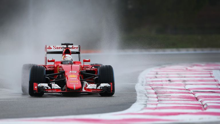 Sebastian Vettel gave the 2015 Ferrari a send-off in Pirelli's 'blind' wet tyre test
