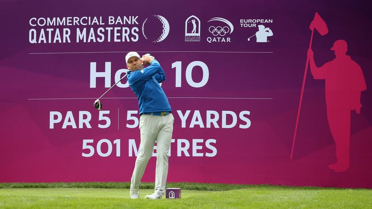 Garcia hits his tee-shot on the 10th hole during the Pro-Am prior to the start of the Commercial Bank Qatar Masters