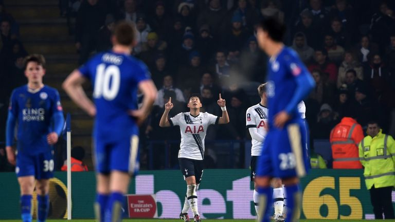 Son Heung-Min of Spurs celebrates after scoring the opening goal during the FA Cup third round replay against Leicester