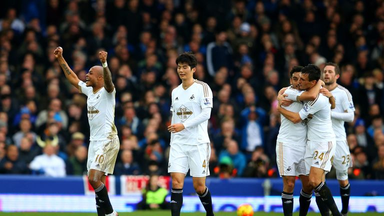 Andre Ayew celebrates after putting Swansea back in front against Everton