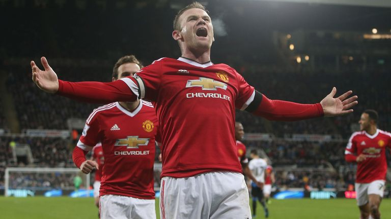 Wayne Rooney celebrates scoring his second against Newcastle