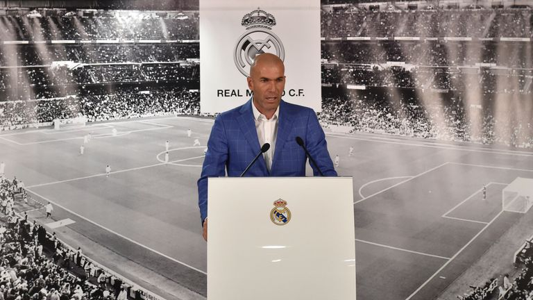 Real Madrid's new coach Zinedine Zidane addresses the press at the Bernabeu