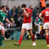 Dan Biggar leaves the pitch midway through the first half of Wales' draw with Ireland