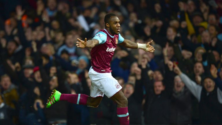 Michail Antonio of  celebrates scoring his team's first goal