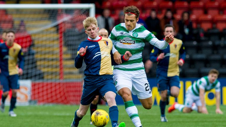 East Kilbride's Jack Smith (left) takes on Erik Sviatchenko