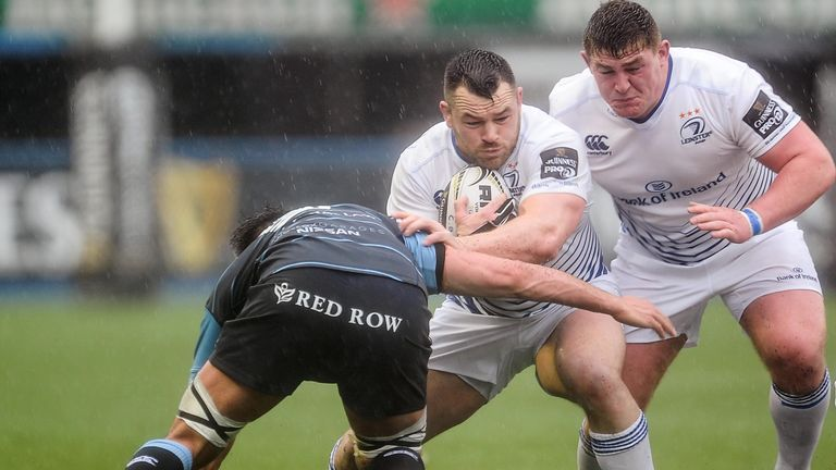 Leinster's Cian Healy evades the tackle of Cardiff Blues' Ellis Jenkins