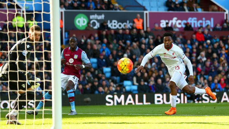 Daniel Sturridge heads home Liverpool's opener at Villa Park